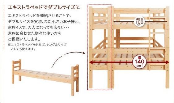 ダブルサイズになる2段ベッド